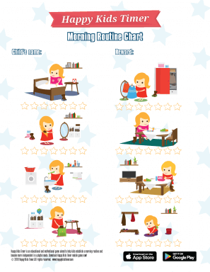 HappyKidsTimer Morning Chore Chart Girl Theme